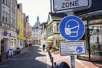 Maskenpflicht in der Altstadt von Recklinghausen  Nordrhein-Westfalen  Deutschland