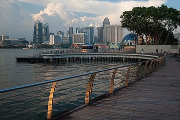 Singapur  Republik Singapur  Blick von der Uferpromenade in Marina Bay auf die Innenstadt waehrend der Coronapandemie