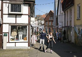 Corona  Lockdown  wenige Passanten in der Altstadt von Recklinghausen  Nordrhein-Westfalen  Deutschland