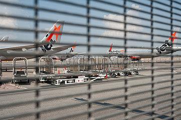 Singapur  Republik Singapur  Stillgelegte Jetstar Asia A320 Passagierflugzeuge am internationalen Flughafen Changi