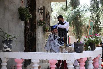 MIDEAST-GAZA-Rafah-MOBILE FRISEUR