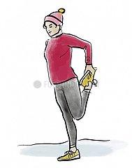 Serie Gymnastik im Winter - Frau 1