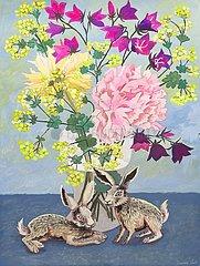 Blumenstraus mit zwei Hasen