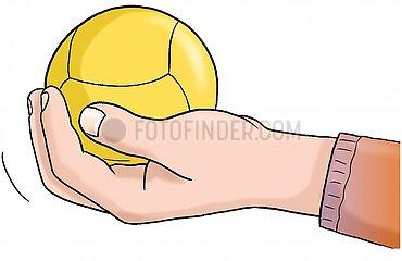 Hand haelt Ball