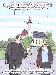 Pfarrer und Gemeindemitglied vor Kirche