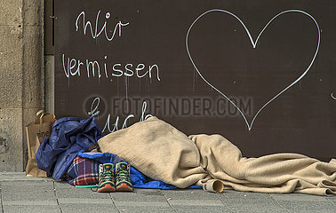 Obdachloser am Sendlinger Tor  April 2021