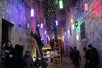 MIDEAST-JERUSALEM-RAMADAN DECORATION