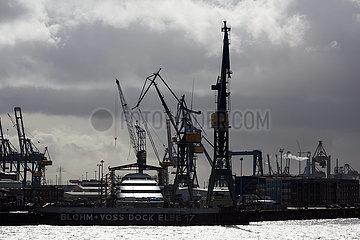 Deutschland  Hamburg - Blick von den Landungsbruecken auf die Werft Blohm+Voss  im Dock eine Megayacht