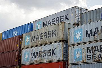 Maersk Container  Hafen Koeln Niehl  Container am Containerterminal  Nordrhein-Westfalen  Deutschland  Europa