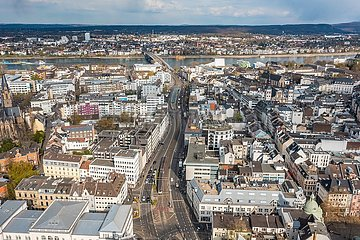 Luftaufnahme Bonn mit Rhein und Kennedy-Brücke | Aerial view of Bonn with the Rhine and Kennedy Bridge