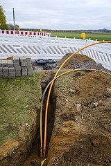 Baustelle Erdverlegung von Glasfasekabel  Breitbandausbau  Rheinbach  Rhein-Sieg-Kreis  Nordrhein-Westfalen  Deutschland