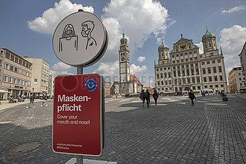 Maskenpflicht  Innenstadt Augsburg  April 2021