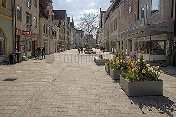 leere Fussgaengerzone in Ingolstadt  Lockdown  Mai 2021