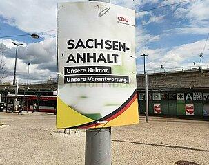Wahlplakat zur Landtagswahl in Sachsen-Anhalt 2021