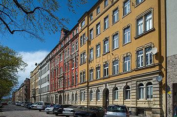 Dresden  Deutschland - Hausfassaden in der Conradstrasse in Dresden-Neustadt