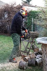 Neuenhagen  Brandenburg  junger Mann zersaegt in einem Kleingarten einen Baumstamm mit einer Kreissaege