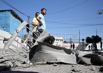 MIDEAST-GAZA CITY-AIRSTRIKES-JALA TOWER