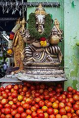 Singapur  Republik Singapur  Ganesha-Statue vor einem Lebensmittelgeschaeft in Little India