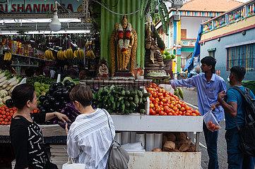 Singapur  Republik Singapur  Lebensmittelgeschaeft mit Gemuese und hinduistischen Statuen in Little India