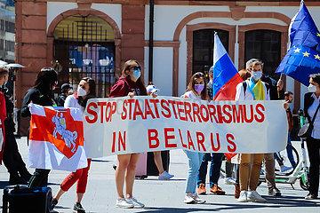 Solidaritaetsdemo von Belarussen gegen das Lukaschenko Regime in ihrem Heimatland Weissrussland