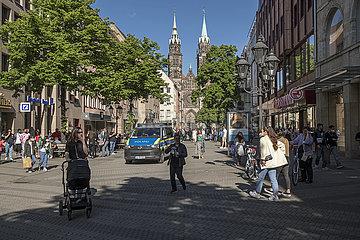 Nuernberger Fussgaengerzone  Karolinenstrasse  Ende Mai 2021