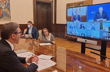 SERBIEN-BELGRAD RUSSIA-PRÄSIDENTEN-COVID-19 zur Herstellung von Impfstoffen-VIDEO MEETING