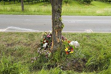 Unfallspuren und Gedenkstätte für ein Verkehrsopfer am Straßenrand