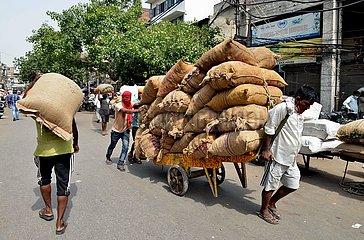INDIEN-DELHI-ARBEITER