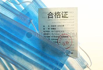 Deutschland  Bremen - Chinesische OP-Masken mit Stempel fuer Zertifizierung