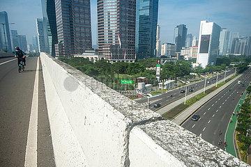 INDONESIEN-JAKARTA-COVID-19-URBAN TRAFFIC-Fahrradwege