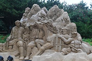 CHINA-ZHEJIANG-ZHOUSHAN-INT'L SAND BILDHAUEREI FEST-ZUBEREITUNG (CN)