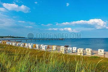 Haffkrug  Blick über die Dünen auf den Ostseestrand und zur Seebrücke