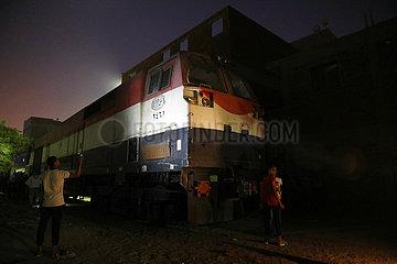 EGYPT-HELWAN-TRAIN-BUS COLLISION