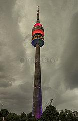 Olympiaturm  regenbogen-bunt angestrahlt bei Fussball EM-Spiel gegen Ungarn  Muenchen  23. Juni 2021