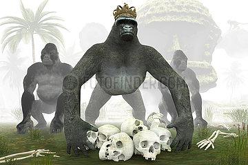 CGI Visualisierung: Gorilla King im Dschungel