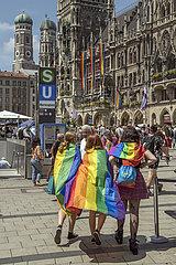 Christopher Street Day  Marienplatz  Muenchen  10.07.2021