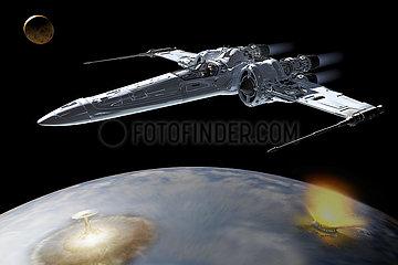 CGI Visualisierung: Raumschiff  Attacke auf Planeten