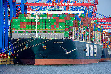 Containerschiff im Hamburger Hafen  Hamburg  Deutschland  Europa