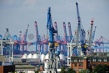 Hafenkraene im Hamburger Hafen  Hamburg  Deutschland  Europa