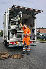 TV-Kanalinspektion  Abwasserkanal  Hamm  Nordrhein-Westfalen  Deutschland