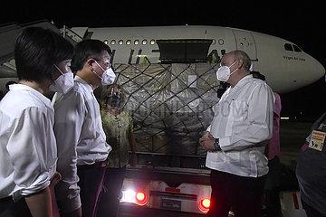 Kuba-Havana-China-medizinische Versorgungspende-Ankunft