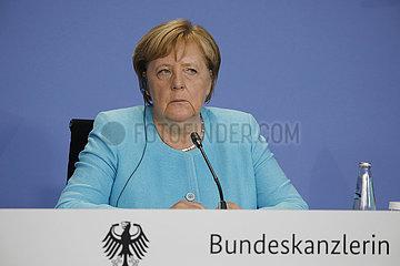 Pressekonferenz nach einem Treffen der Bundeskanzlerin mit den Vorsitzenden internationaler Wirtschafts- und Finanzorganisationen  Bundeskanzleramt  26. August 2021