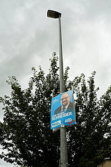 Deutschland  Wismar - Hochgehaengtes Wahlplakat des Afd-Kandidaten fuer die Landtagswahl 2021  die in MV dieses Jahr gleichzeitig mit der Bundestagswahl stattfindet