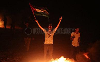 Midest-Gaza-Khan Yoüni-Israel-Border-Nacht-Zusammenstöße