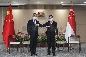 Singapur-stellvertretender PM-China-Wang Yi-Meeting