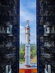 China-Hainan-Tanzhou-3 Cargo-Raumfahrzeug-Start-Vorbereitung (CN)