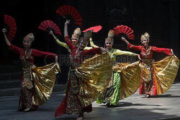 Indonesien-Süd-Tangerang-traditionelle Tanzleistung