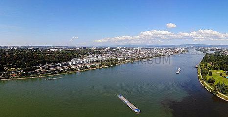 Panorama Luftbild Rhein Mainspitzdreieck  Mainz