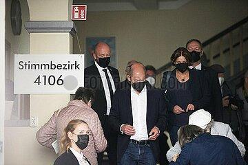 Scholz bei Stimmabgabe am 26.09.2021