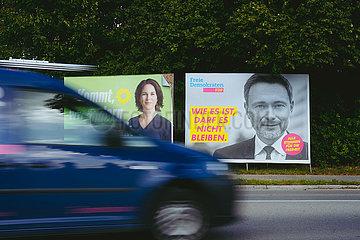 Wahlplakat Bundestagswahl 2021 einen Tag nach der Wahl